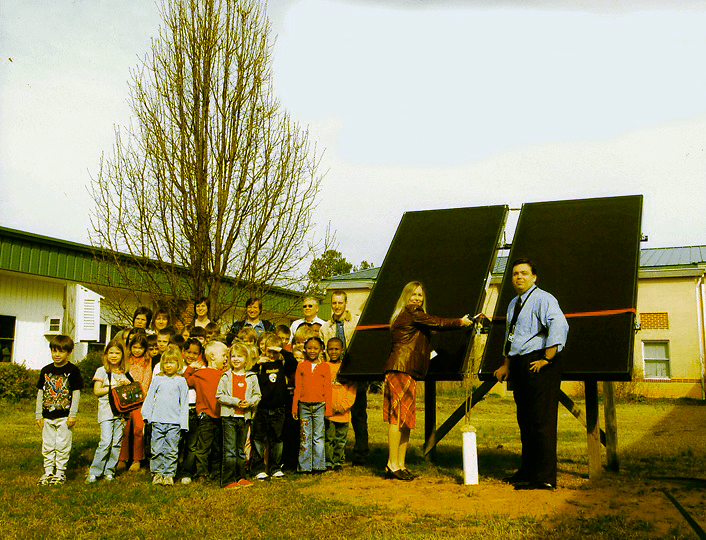 Moncure School with its new solar hot water heaters!