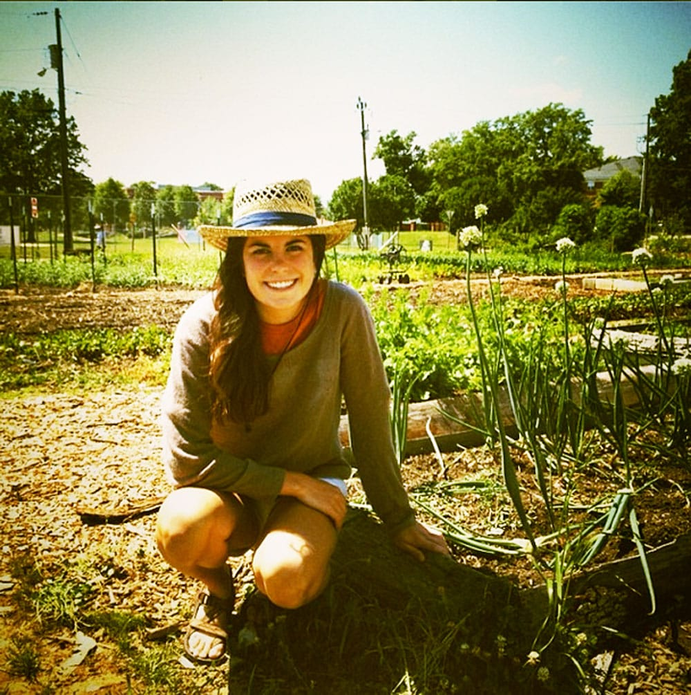 Katie Riddle works in the gardens at Raleigh City Farm.