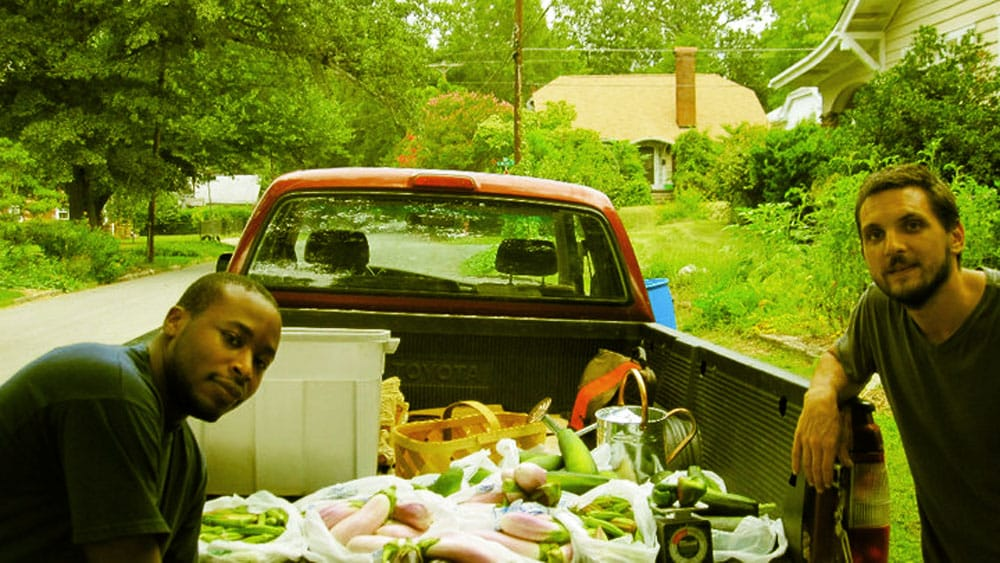 Loading up the truck with community-grown produce.