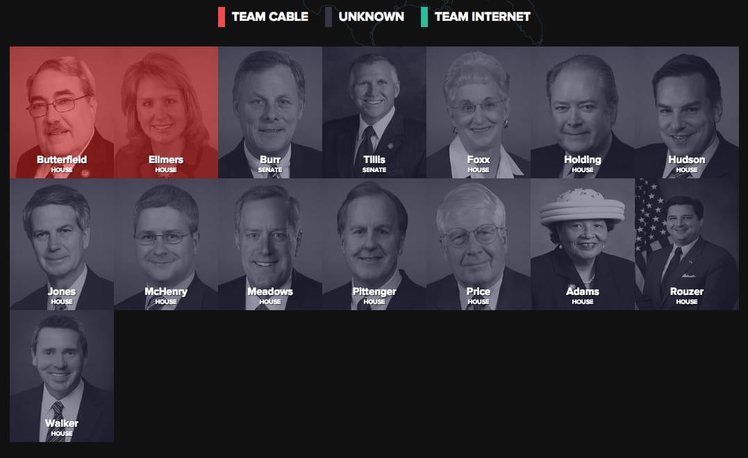 See which of your senators and representatives (from any state) are on Team Cable vs. Team Internet at BattleForTheInternet.com.