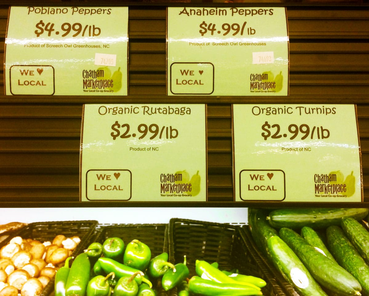 Local organic vegetables for sale at The Chatham Marketplace in Pittsboro