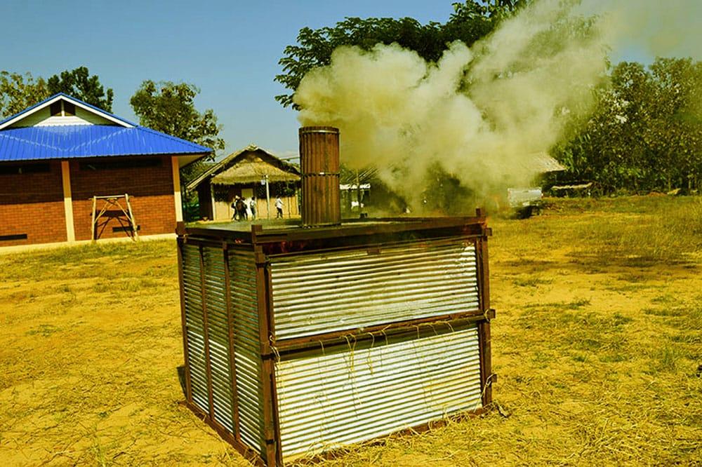 Bad, smoky, charcoal production.